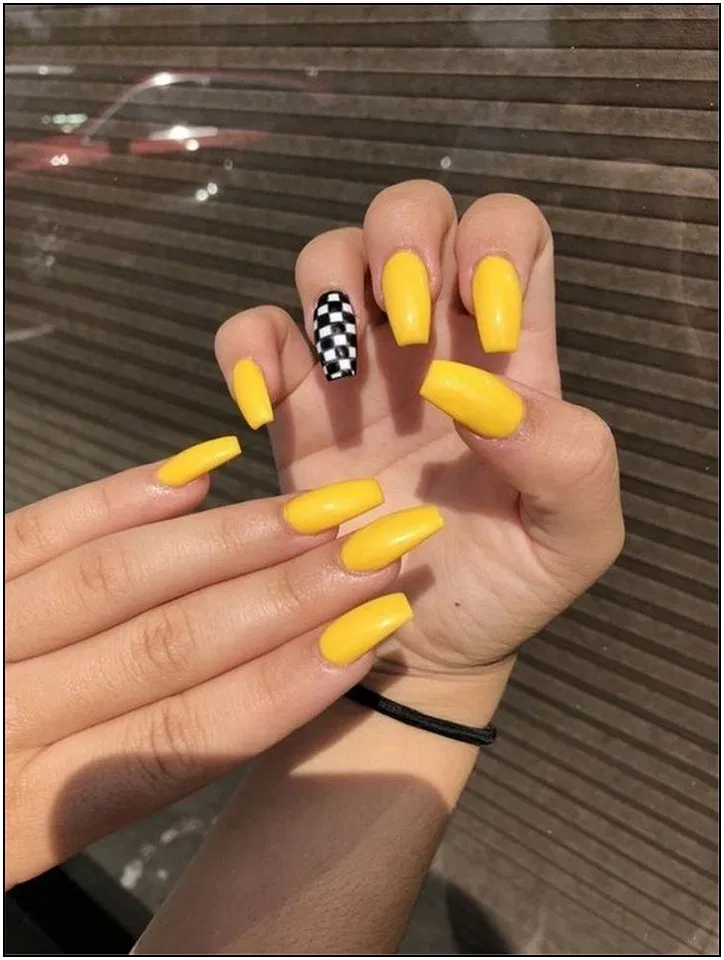 145 Pretty Acrylic Coffin Nails Design You Need To Try 3 Yellow Nails Design Yellow Nails Pretty Acrylic Nails