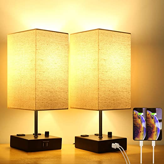 Amazon Com Upgraded Fully Dimmable Usb Bedside Table Lamp Set Of 2 Nightstand Table Lamps With 2 Usb Charging Bedside Lamp Modern Modern Desk Lamp Lamp Sets