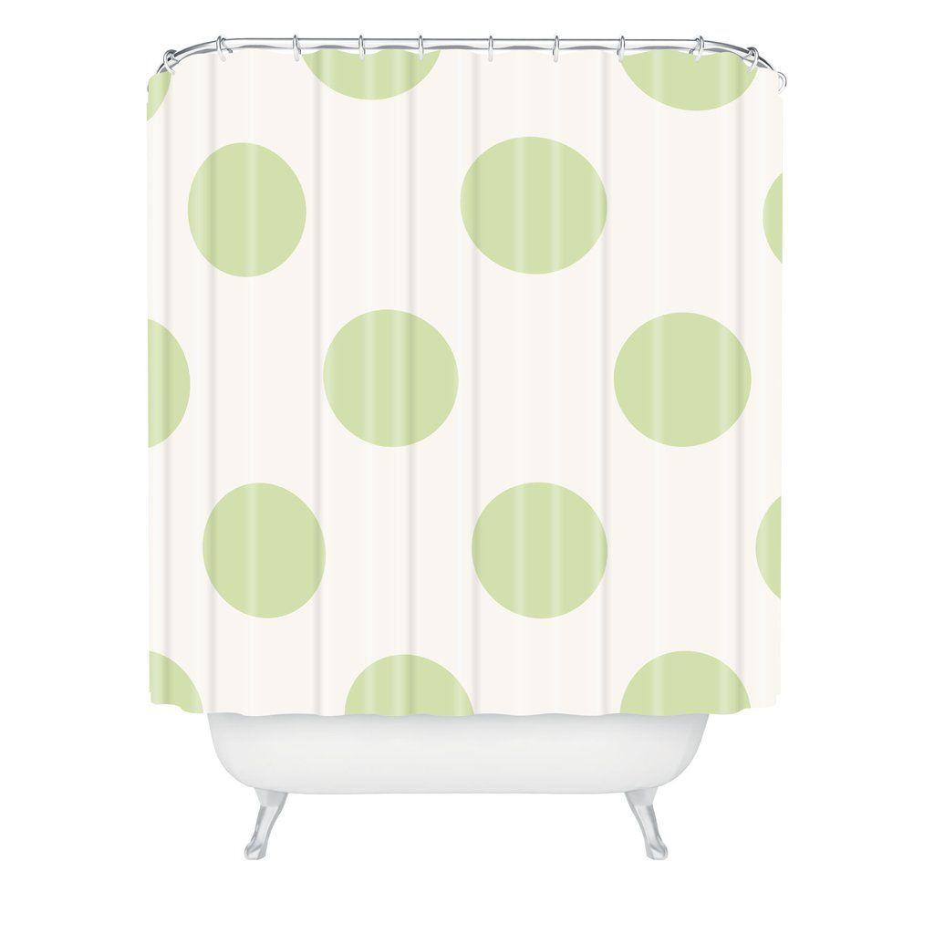 Jacqueline Maldonado Vintage Dot Pale Green Shower Curtain Deny