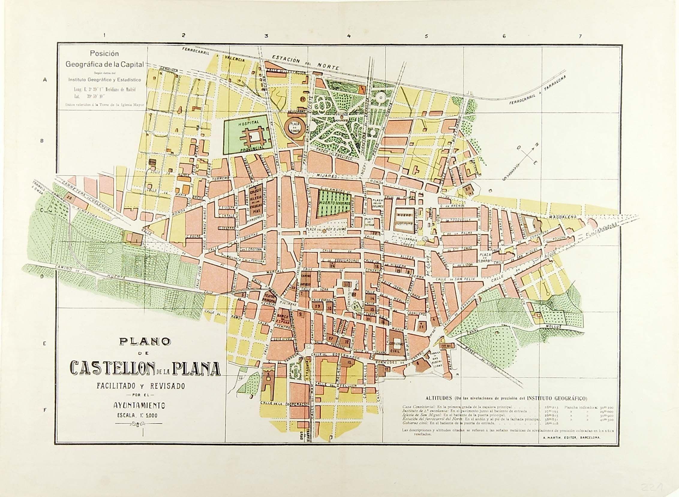 Plano De Castellon De La Plana Entre 1920 Y 1927 Planos