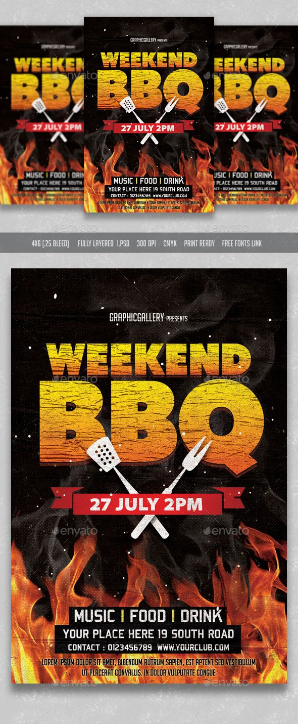 weekend bbq flyer template template and fonts - Free Bbq Flyer Template