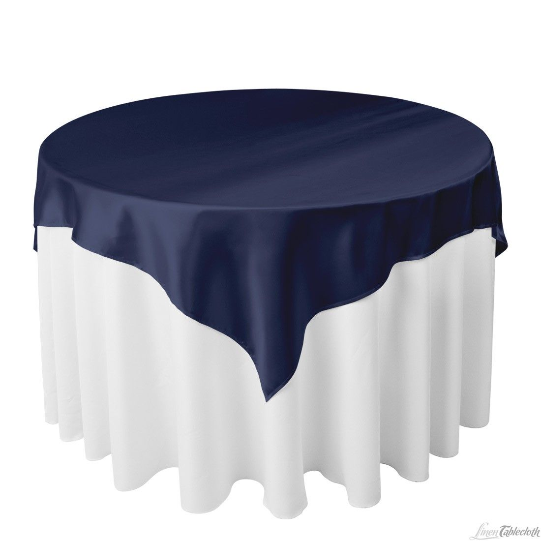 60 inch Square Satin Overlay Navy Blue on a 48 inch Round Table
