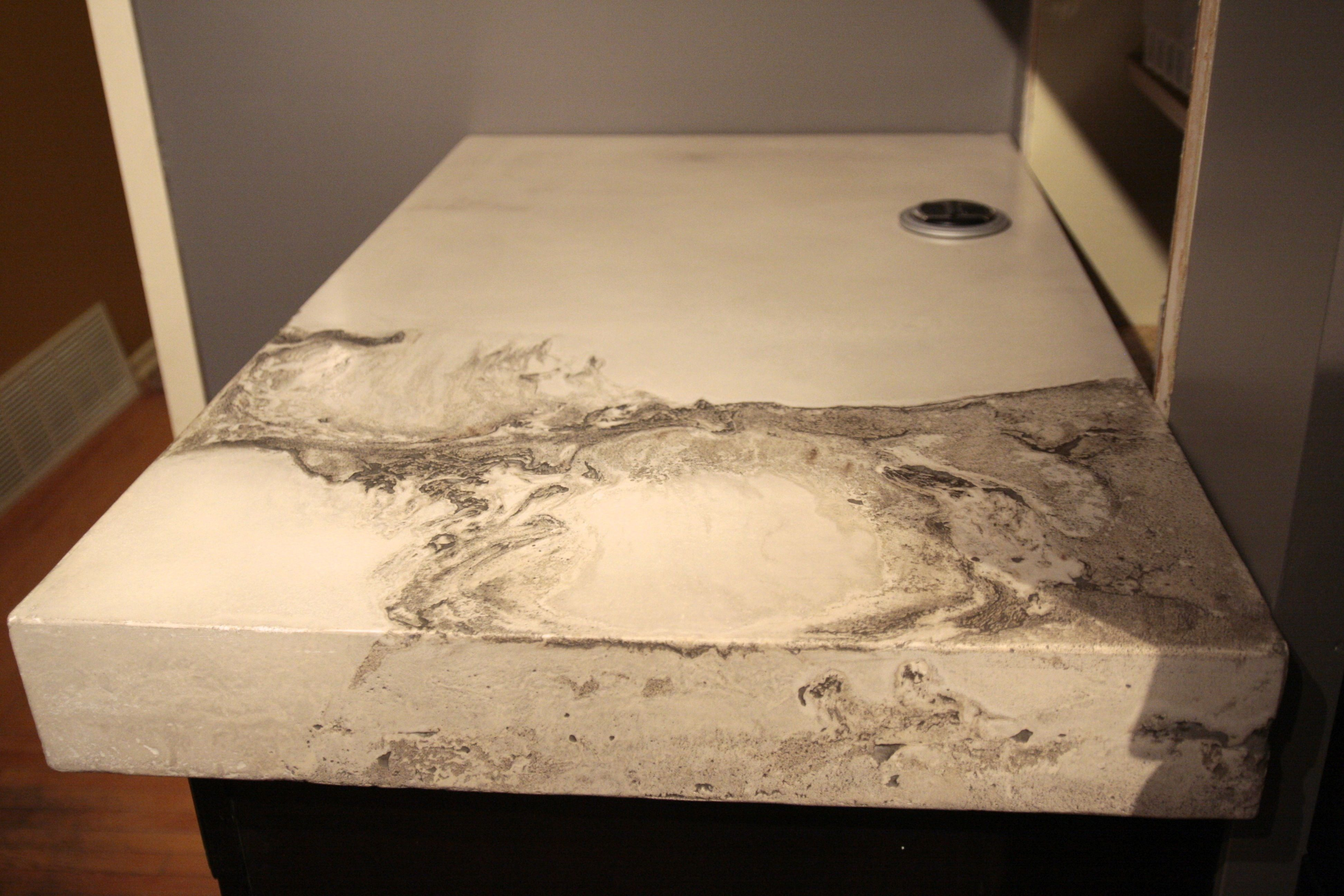 White Concrete With Charcoal Veining Just A Peak Of Our Current