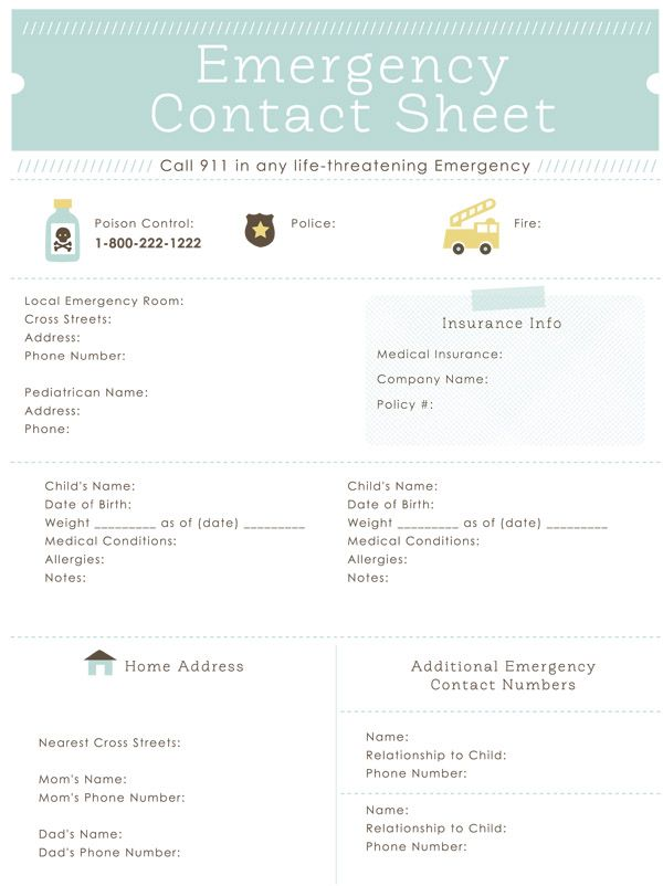 emergency contact sheet printable - great for the babysitter - emergency contact forms