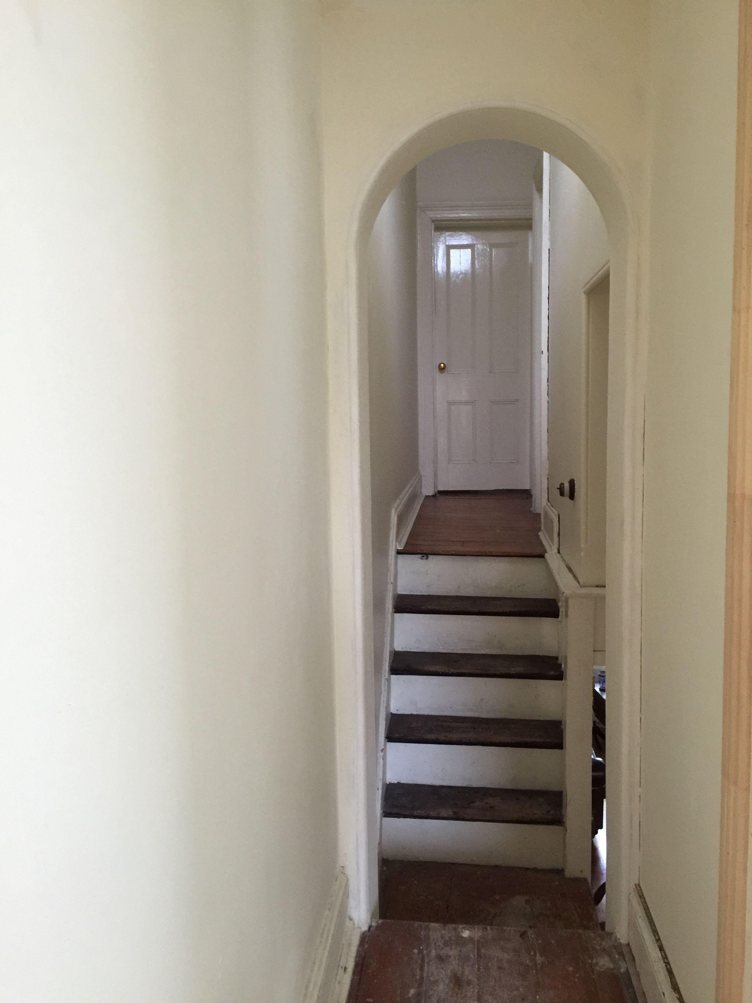 Corner hallway storage cabinet  Archway in upstairs hall rerendered and plastered  Saving Kiama