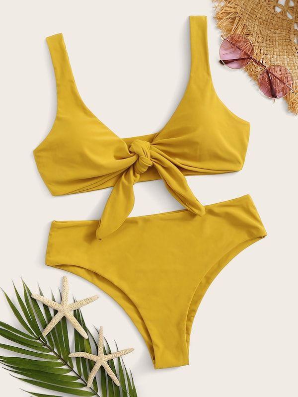 bc26cfaff99b7 Pin by Michelle Nguyen on Style in 2019 | Knot front top, Bikinis, Bikini  set