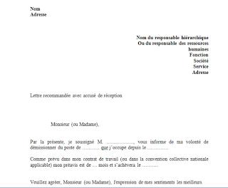 Modèle lettre de démission avec préavis en word doc ...