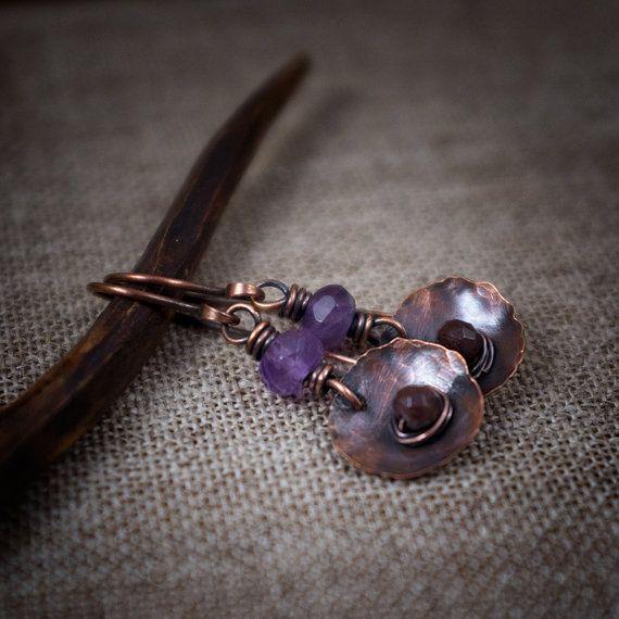 Amethyst earrings • Garnet • oxidized copper • hand forged • leaves • rustic • artisan • hammered • stone earrings • short earrings