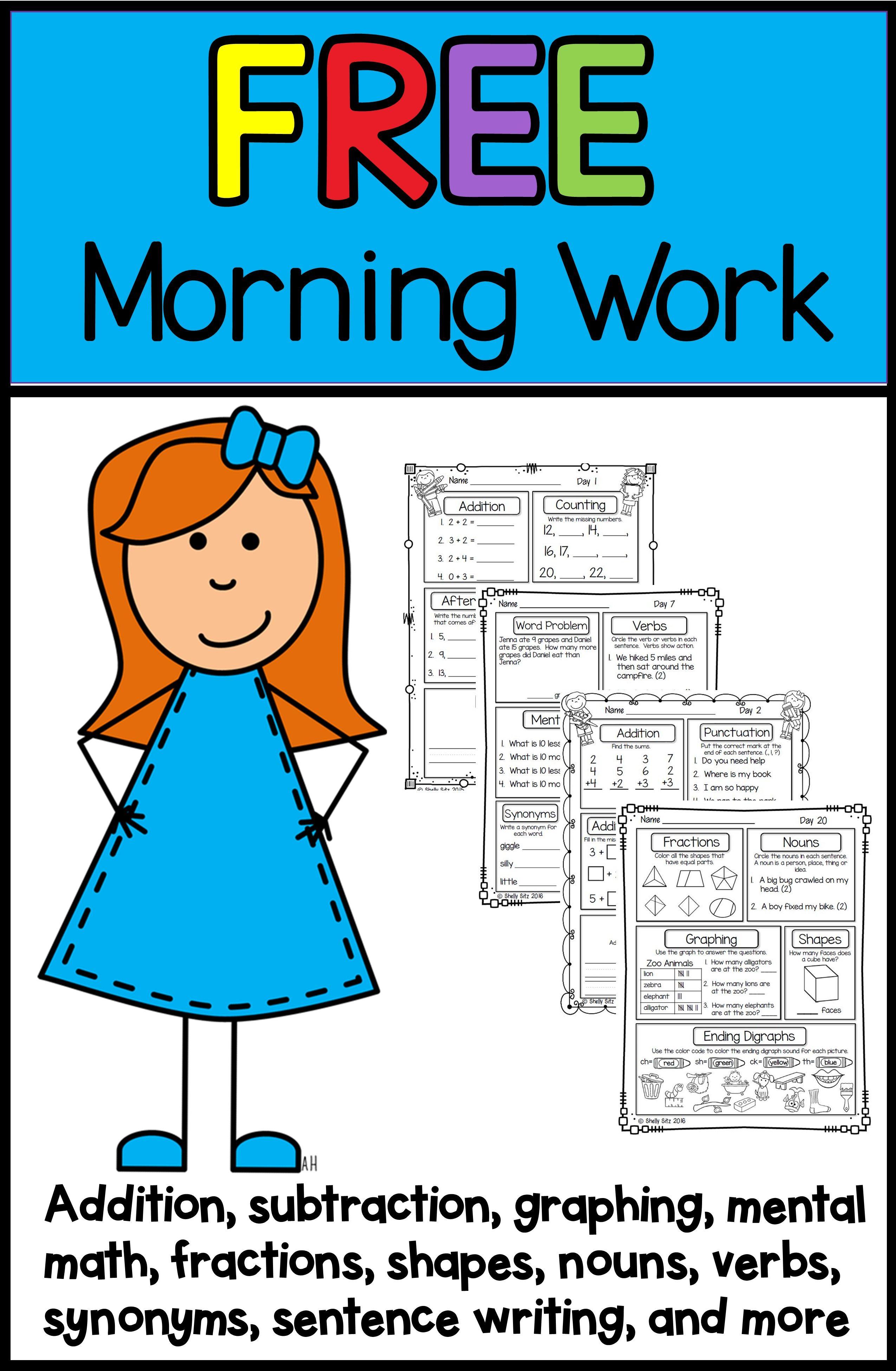 First Grade Morning Work Freebie In