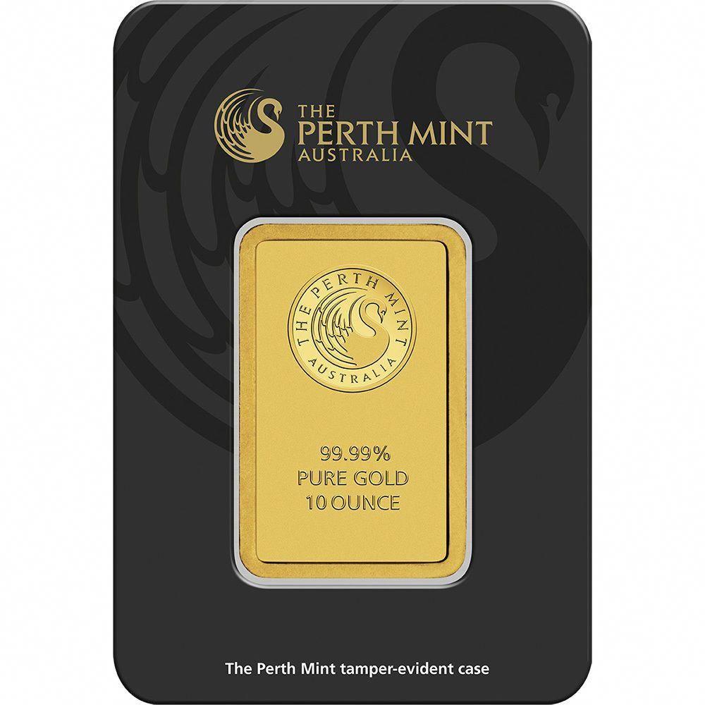 10 Oz Gold Bar Perth Mint 99 99 Fine In Assay 14kgold Mint Gold Gold Bars For Sale Mint Bar