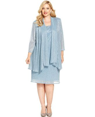 d0510d22ef2 R M Richards Plus Size Sleeveless Metallic Dress and Jacket ...