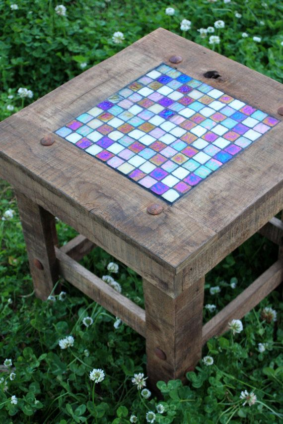 Mosaic End Table With Iridescent Glass Tile Inlay, Rustic Contemporary,  Reclaimed Wood, Natural Finish   Handmade