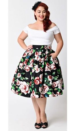 Unique Vintage Plus Size Black Pink Rose Print High Waist Swing Skirt Floral Print Dress Outfit Printed Dress Outfit Plus Size Vintage Clothing