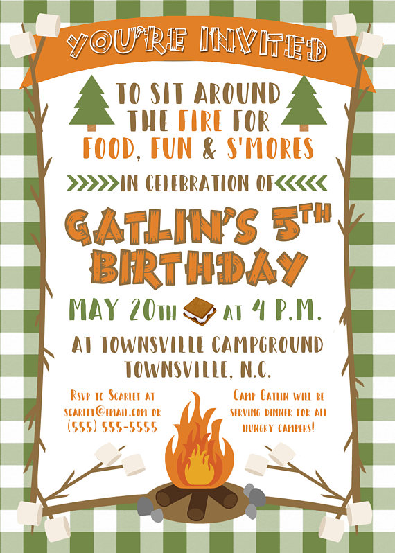 Camping And Smores Birthday Party Invitation 5x7 Products In