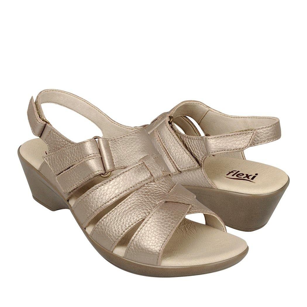 05aa85d9 Flexi Zapatos Dama Sandalias 14911 Piel Oro - $ 339.00 en MercadoLibre