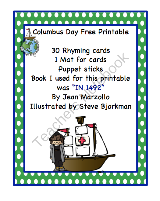 Columbus Day Free Printable from Preschool Printables on ...