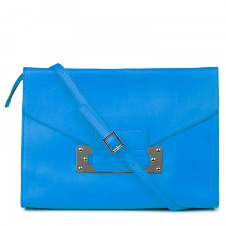 Sophie Hulme Large grained blue leather envelope clutch