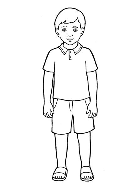 Primary Boy Standing Clipart Black And White Coloring Pages For Boys Boy Drawing