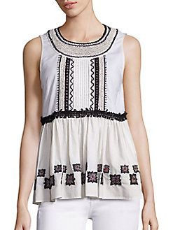 SUNO - Embroidered Cotton Leaf Sleeveless Top