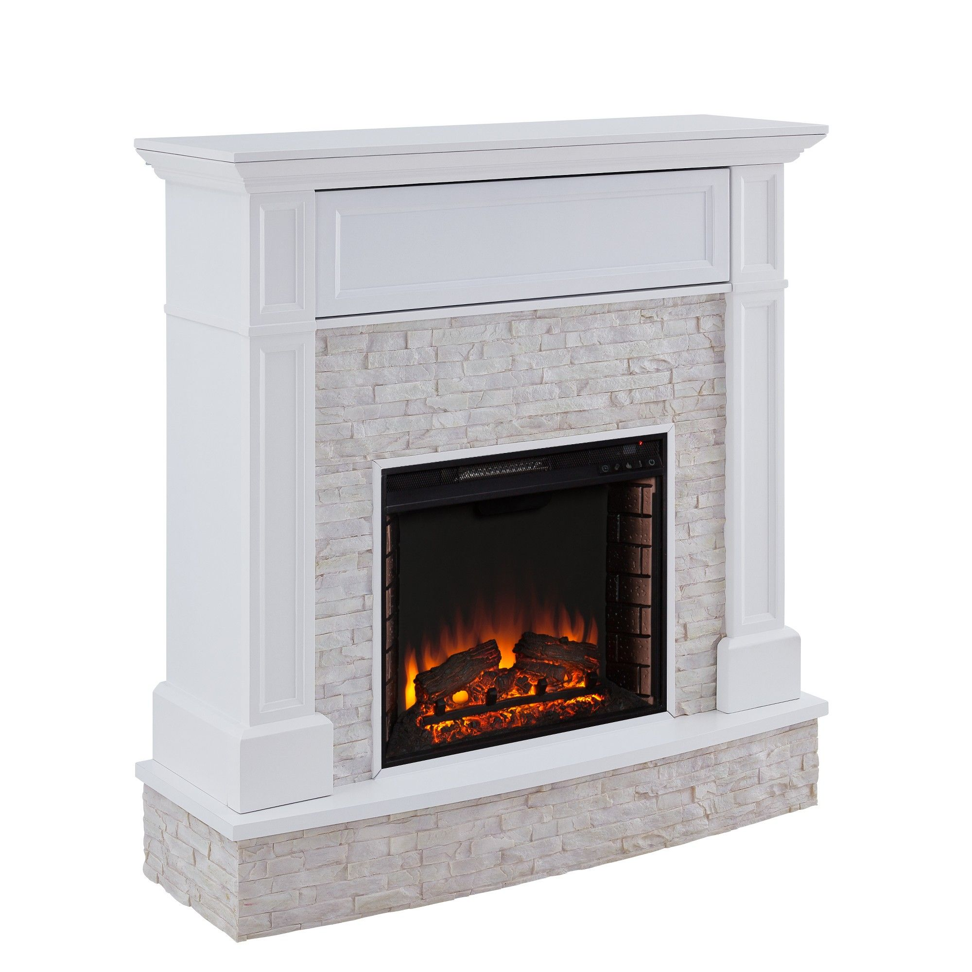 Jerrick Faux Stone Media Fireplace White Aiden Lane Hogar