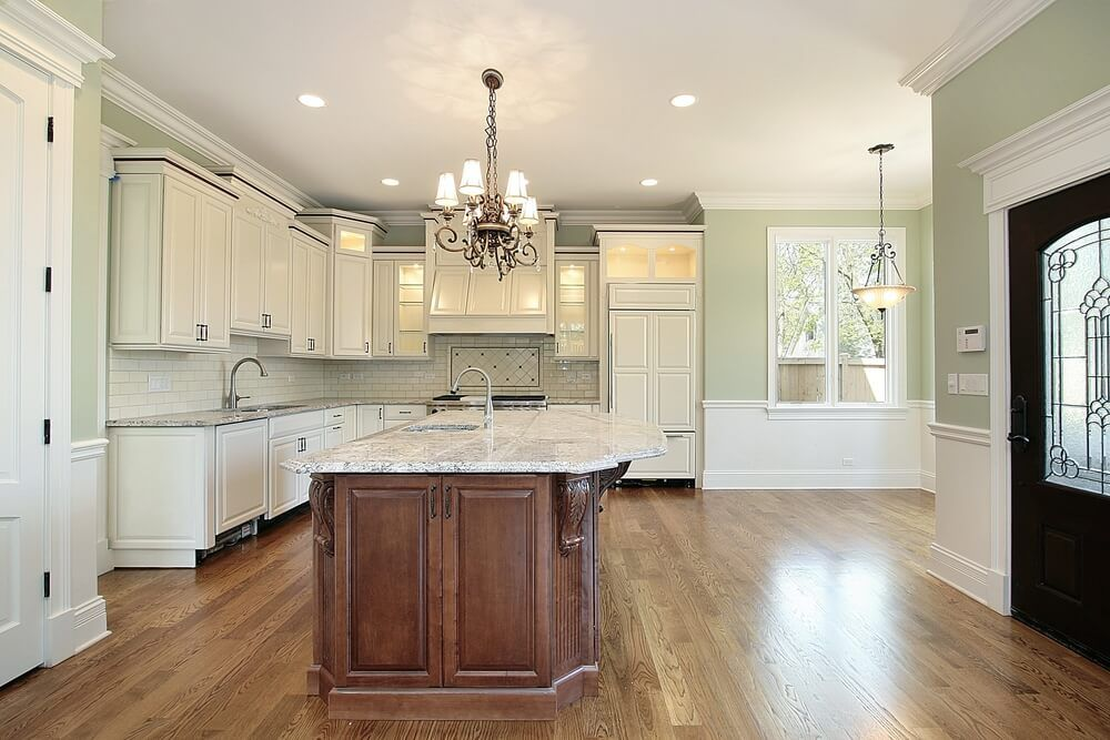 Red White Kitchen With Wood Island On Cabinets Vaulted Ceiling
