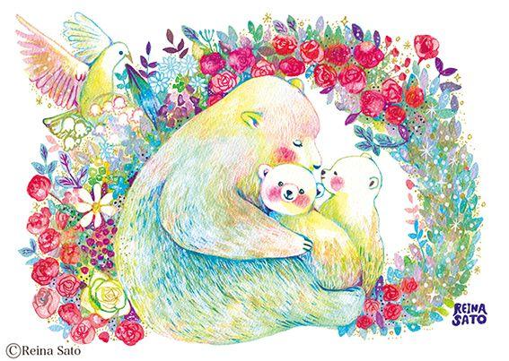 クマの親子イラスト白クマ水彩色鉛筆アクリル Animals 親子