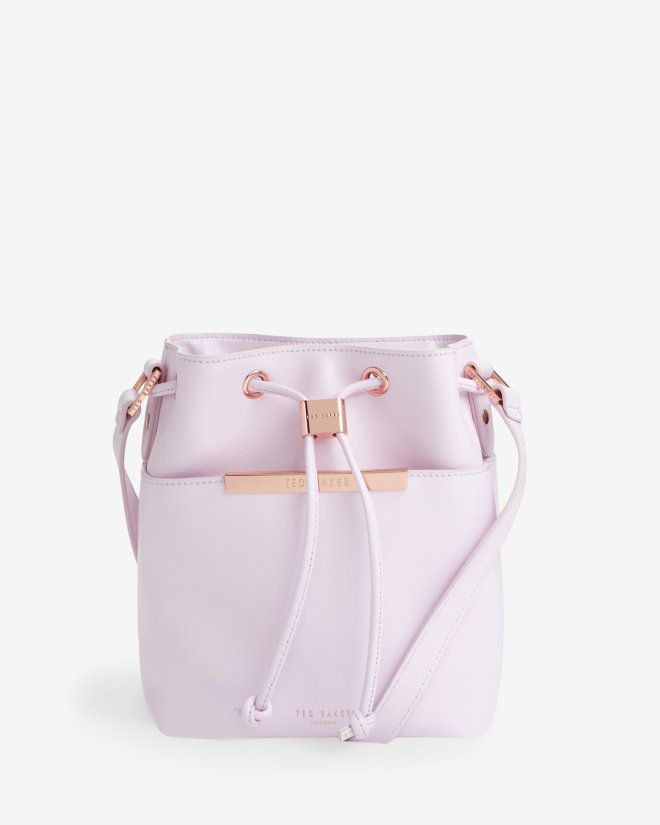 Crosshatch leather mini bucket bag - Pale Pink