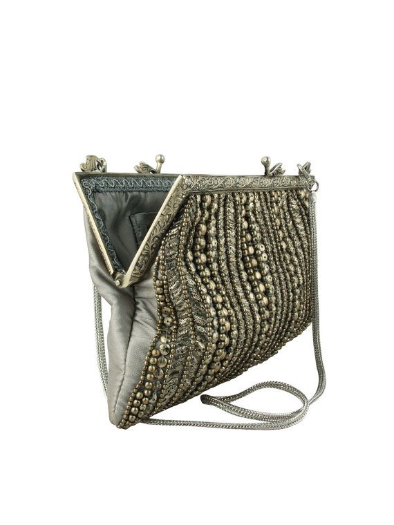 Vintage Style Evening Bag Gold Silver Beaded by JaipurStitch