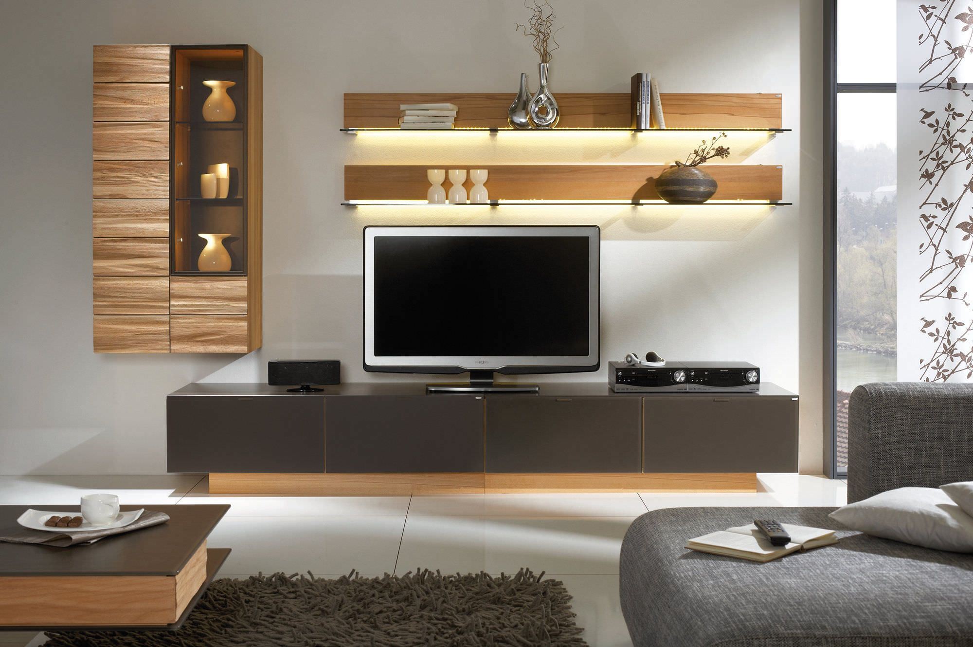 Awesome white brown wood glass cool design contemporary tv for Table tv design