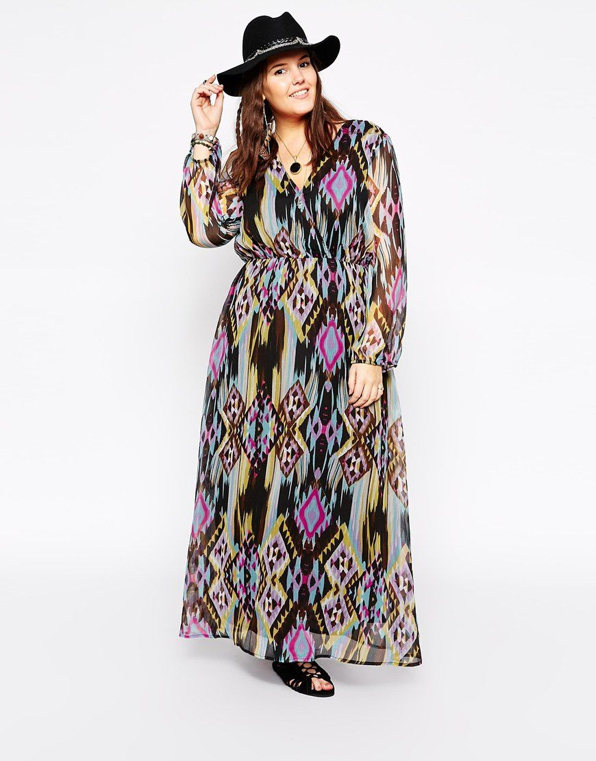 Plus Size Long Sleeve Printed Maxi Dress Maxi Dresses Pinterest