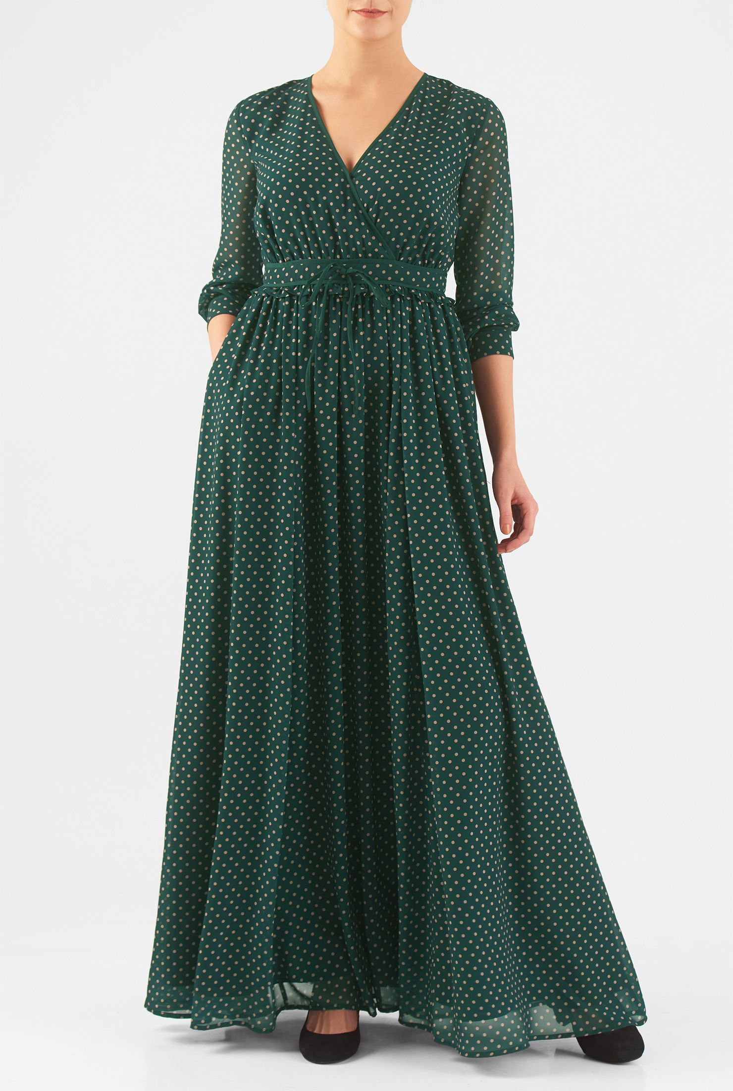 Our polka dot georgette dress is cut at floor length with a flirty