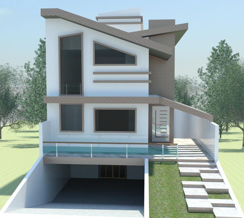 Estudo com laje inclinada casas modernas por rafael alves for Layout casas modernas