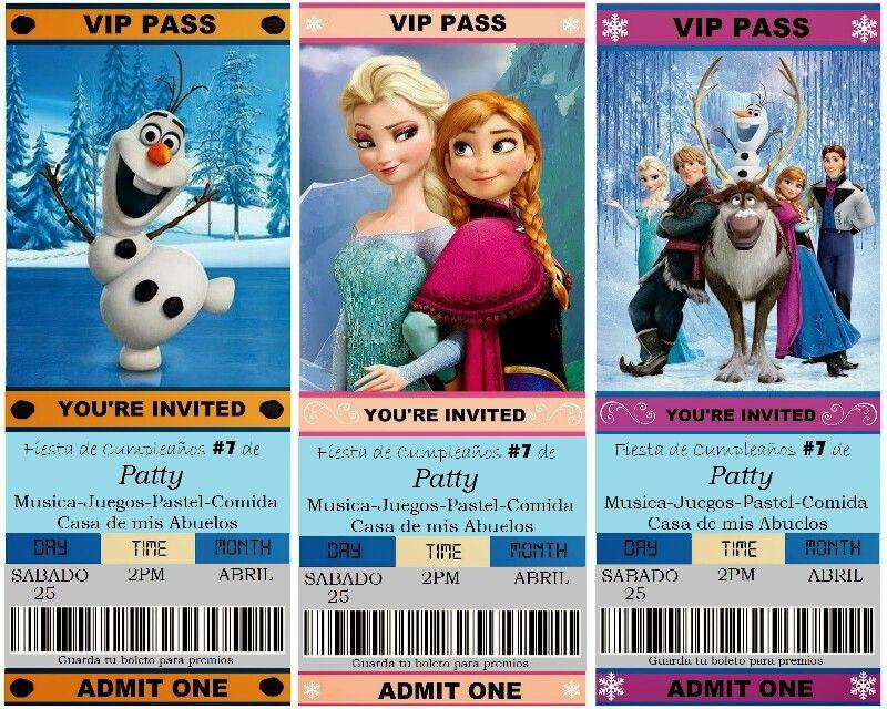 Se acerca el cumpleaños de mi sobrina y encontre estas lindas - free ticket invitation template