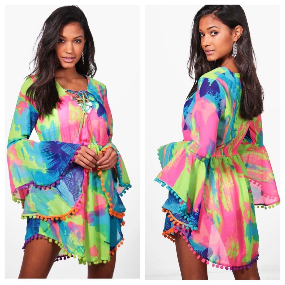 08d72ad10d Boohoo Beach Women s Tropical Neon Pom Pom Tie Dye Bathing Suit Swim Cover  Up