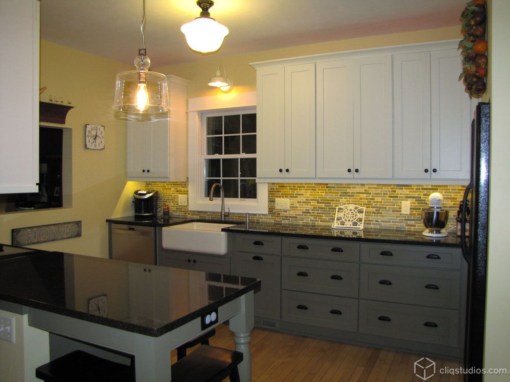 Painted Linen And Painted Tea Leaf Kitchen Cabinets In The Mission Dayton  Door Style