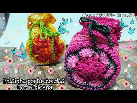 Bolsinha Flor Africana #croche #artesanato #feitoamao - YouTube