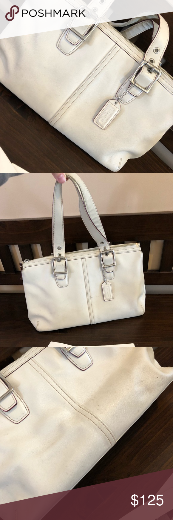 0934448d7d ... italy 100 authentic coach white leather tote handbag white leather  coach tote bag pre acd4e 84f51
