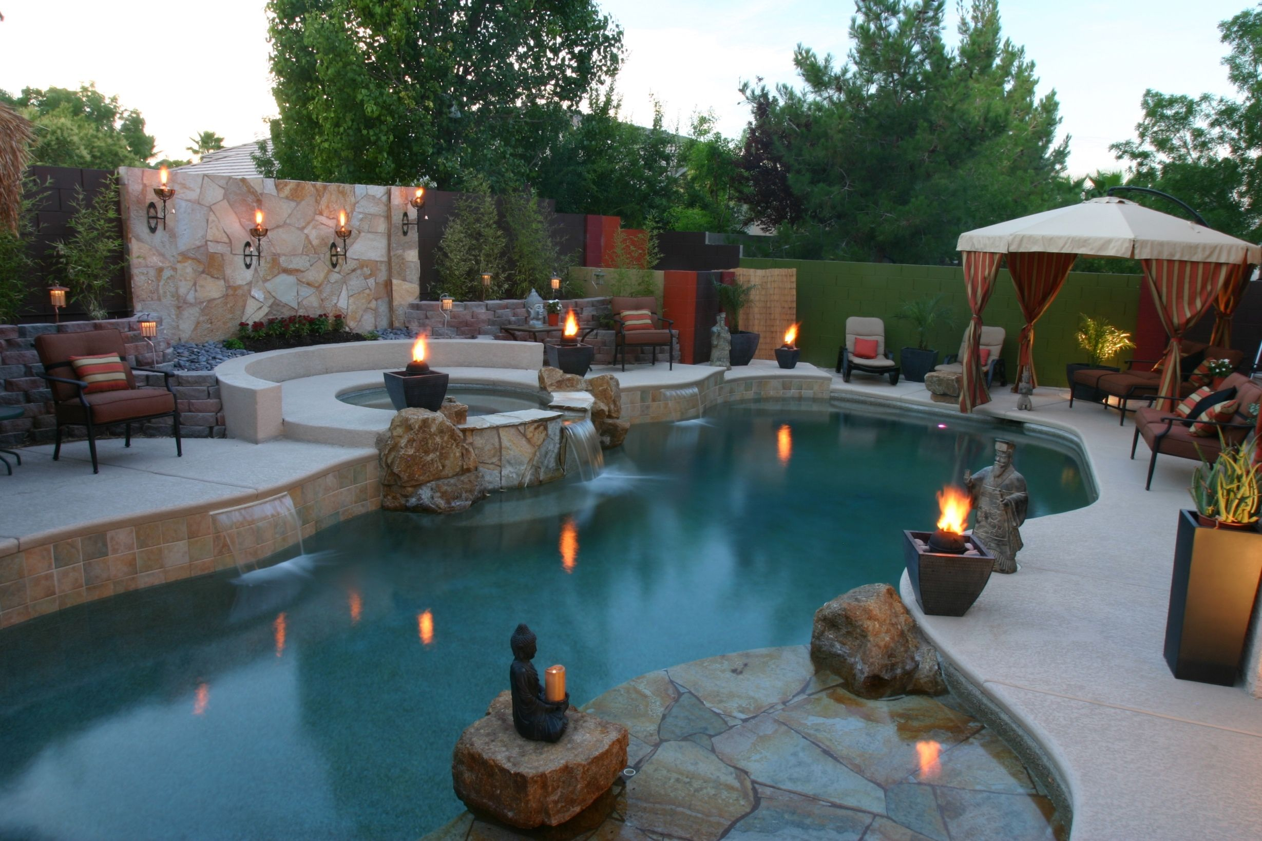 Fireball Accents And Wall Sconces Pool Pooldesign Swimmingpools