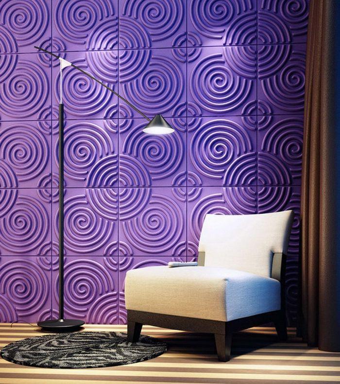 moderne gestaltung - lila farbe - weißer sessel Mit dem Kopf durch - moderne wandgestaltung wohnzimmer lila