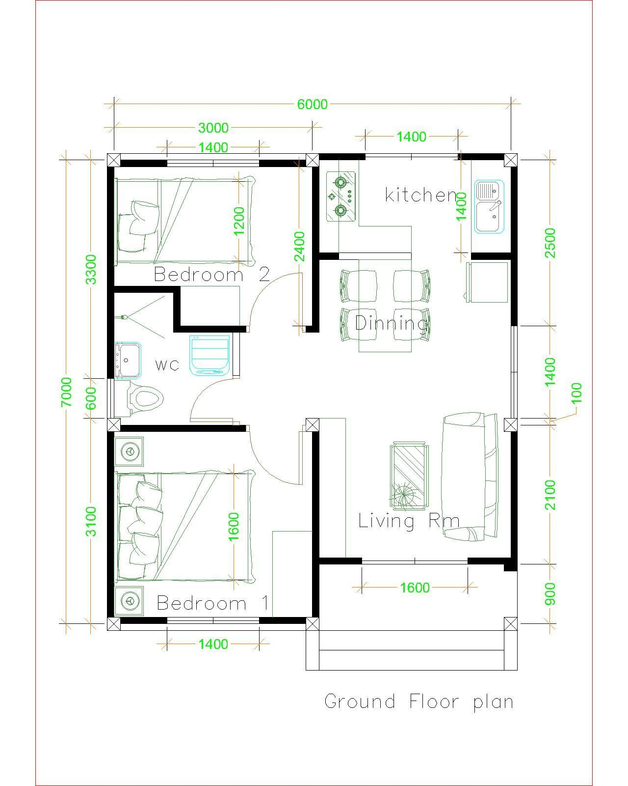 Simple House Plans 6x7 With 2 Bedrooms Shed Roof House Plans 3d Unique House Plans Simple House Plans Small House Plans