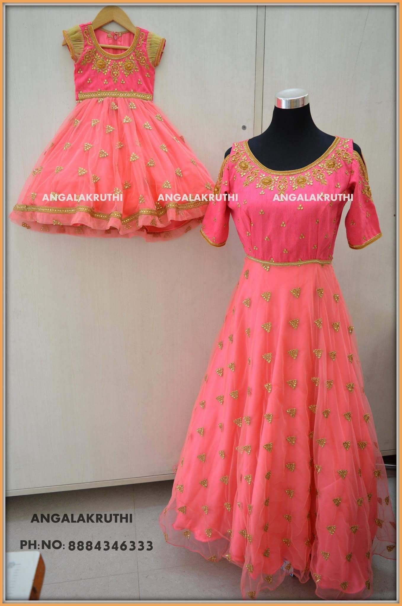8050335edf Mother and Daughter matching dress designs by Angalakruthi boutique  Bangalore #Mom me dress designs by Angalakruthi boutique Bangalore