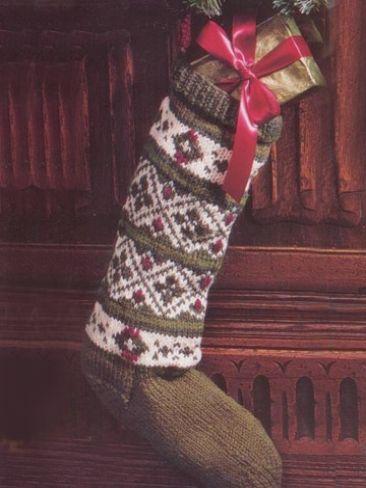 Green Fair Isle Stocking   Yarn   Free Knitting Patterns   Crochet ...