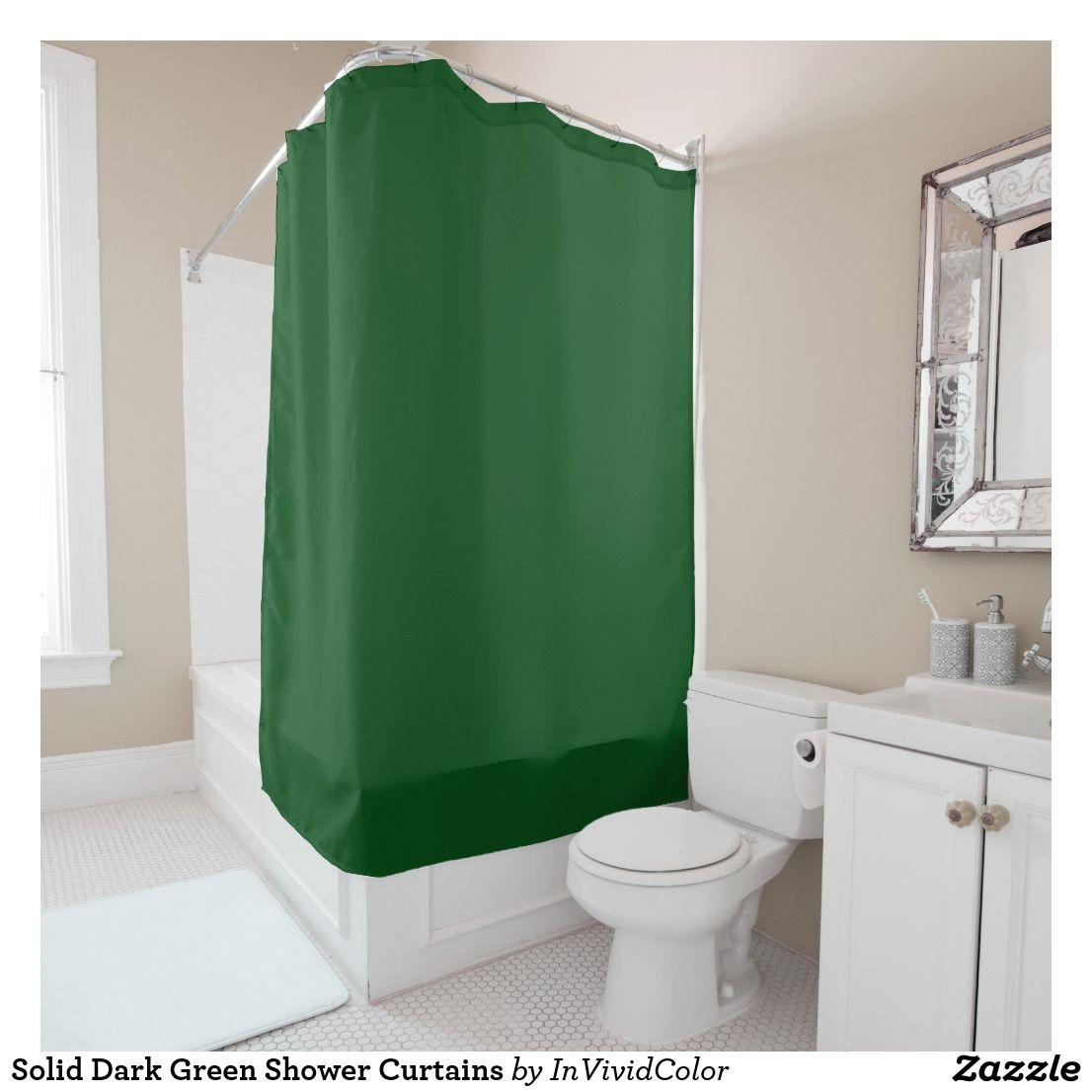 Solid Dark Green Shower Curtains Zazzle Com Green Shower
