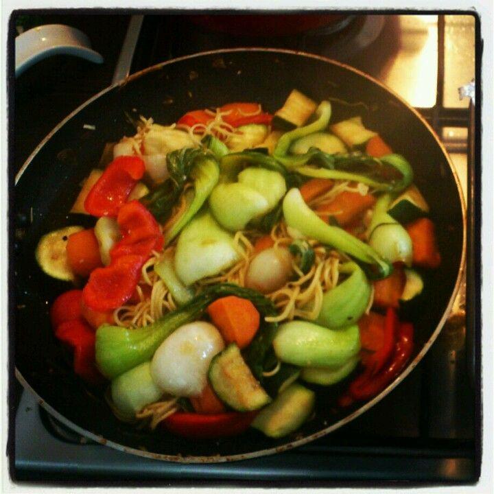 Veggie stirfry w, noodles #yum