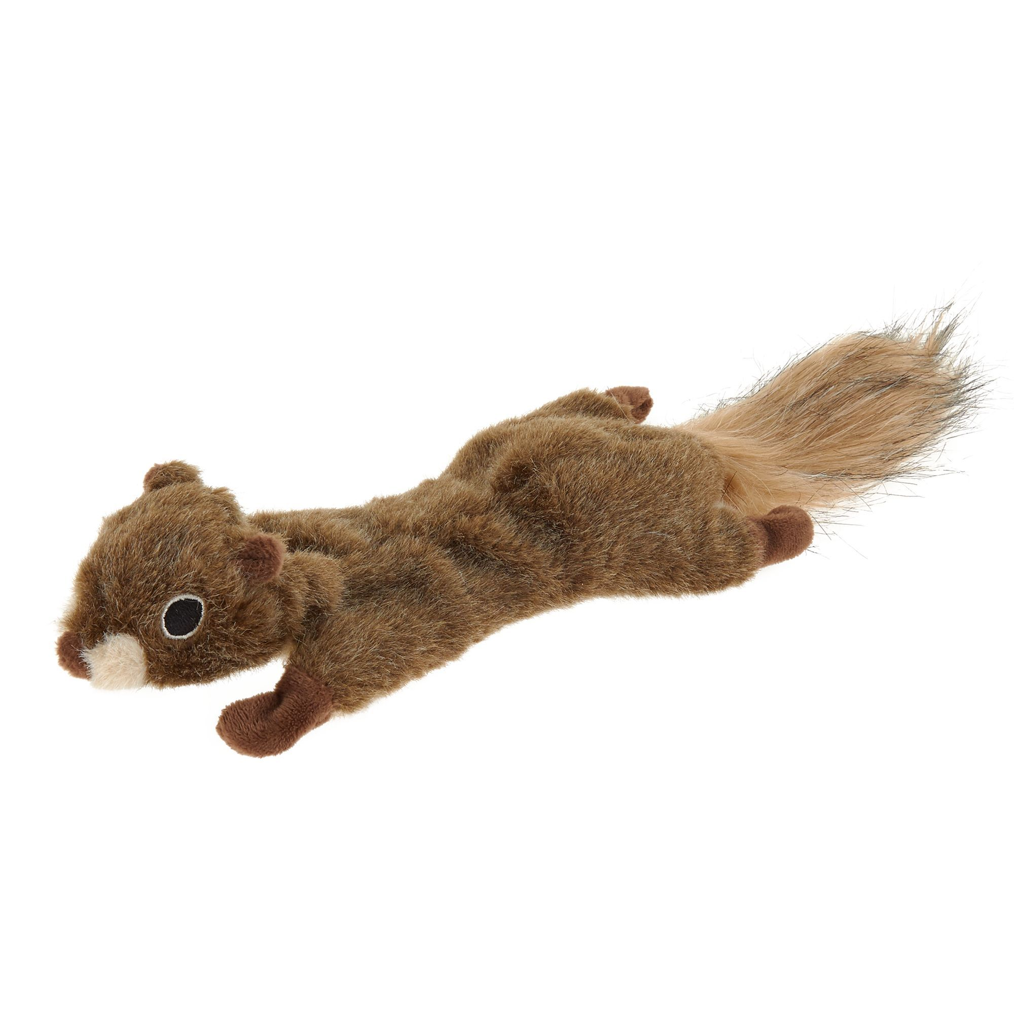 Top Paw Realistic Squirrel Flattie Dog Toy Crinkle Squeaker In
