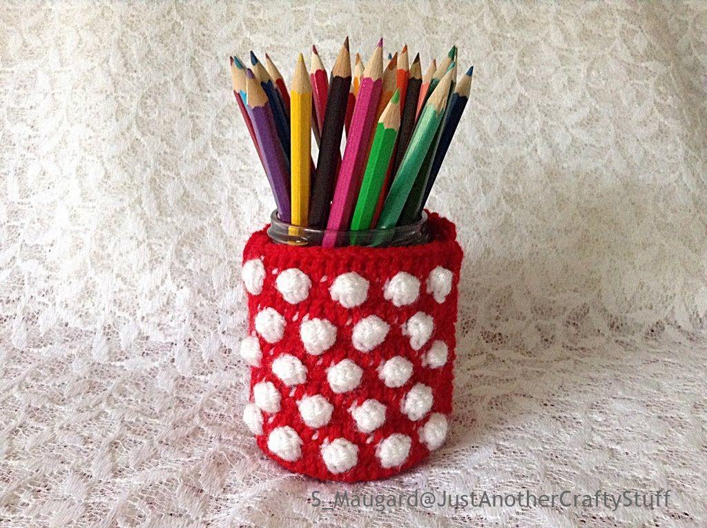 DIY : How to Make an Easy Crochet Polkadot Jar -- Magic Yarn Series