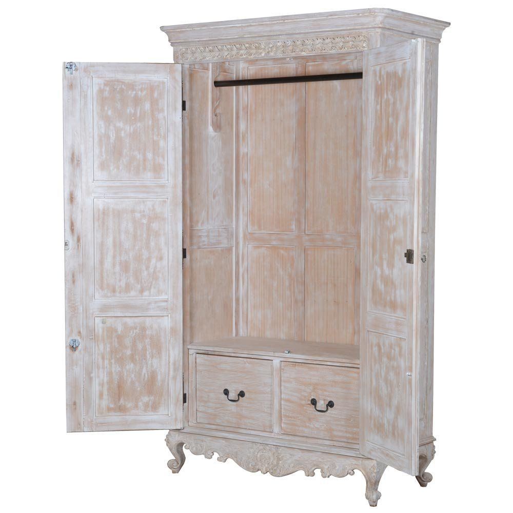 Vignette White Washed French Armoire | French Wardrobe. French Bedroom  Armoire.