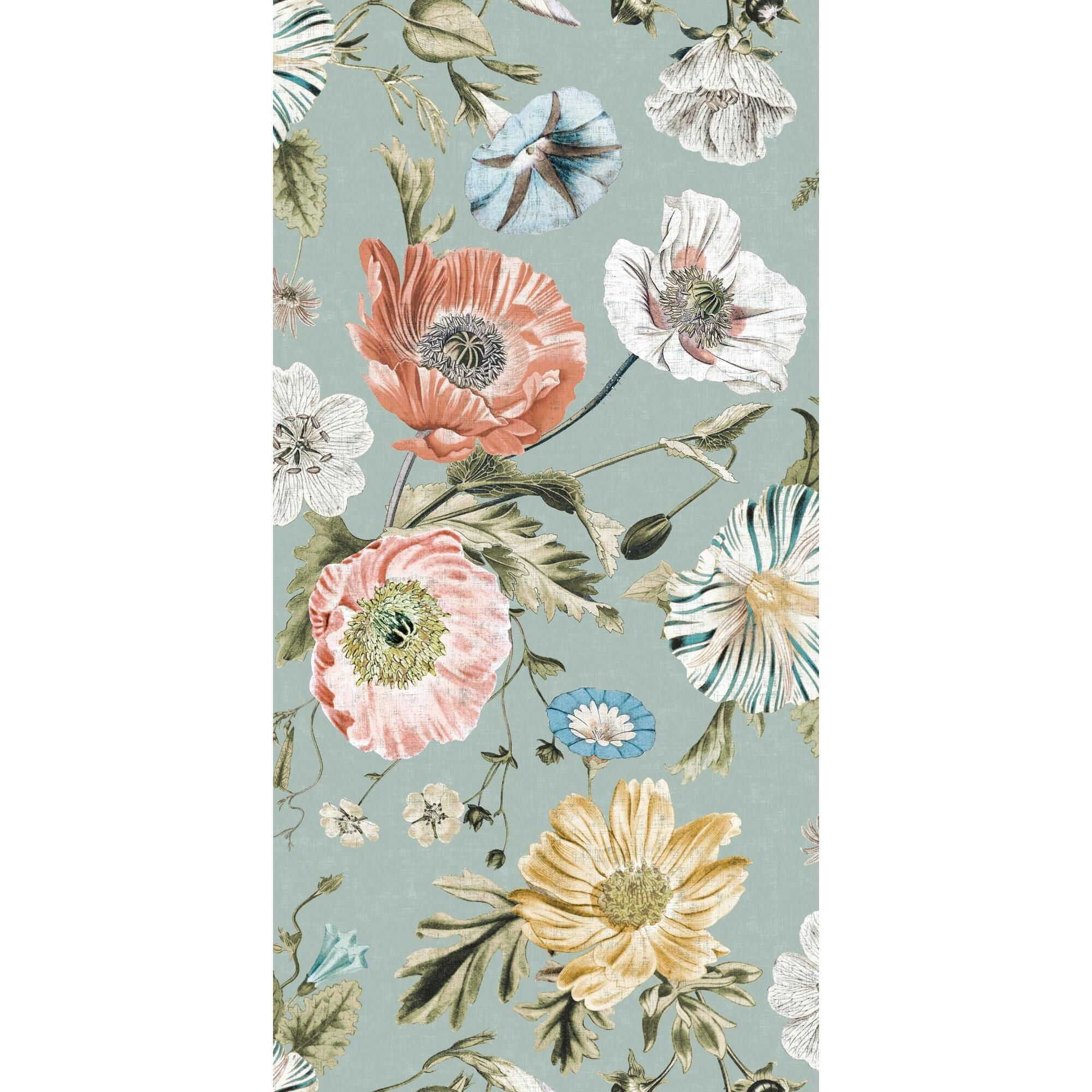 Dusty Teal Vintage Poppies Peel And Stick Wallpaper Blue Orange Multi By World Market Peel And Stick Wallpaper Diy Wallpaper Wallpaper