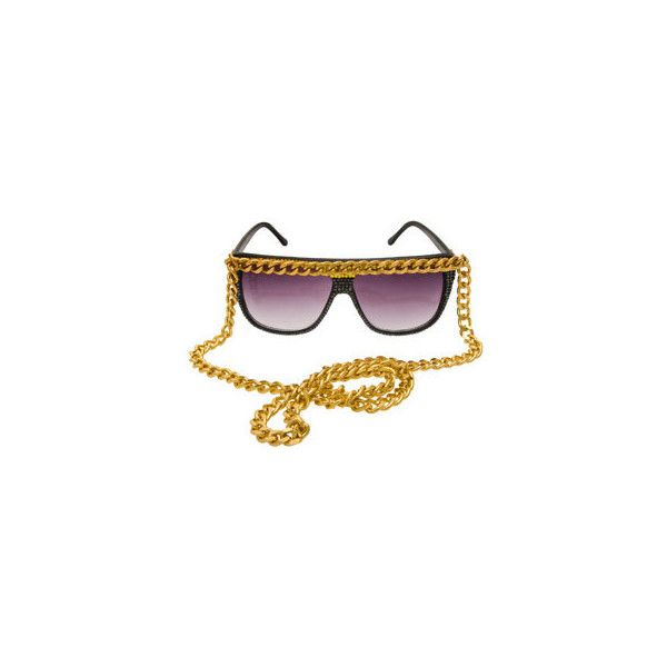 Kerin Rose Sunglasses with chain | Browns Fashion (€275) ❤ liked on Polyvore featuring accessories, eyewear, sunglasses, glasses, jewelry, shades, chain sunglasses, brown glasses, chain glasses and brown sunglasses