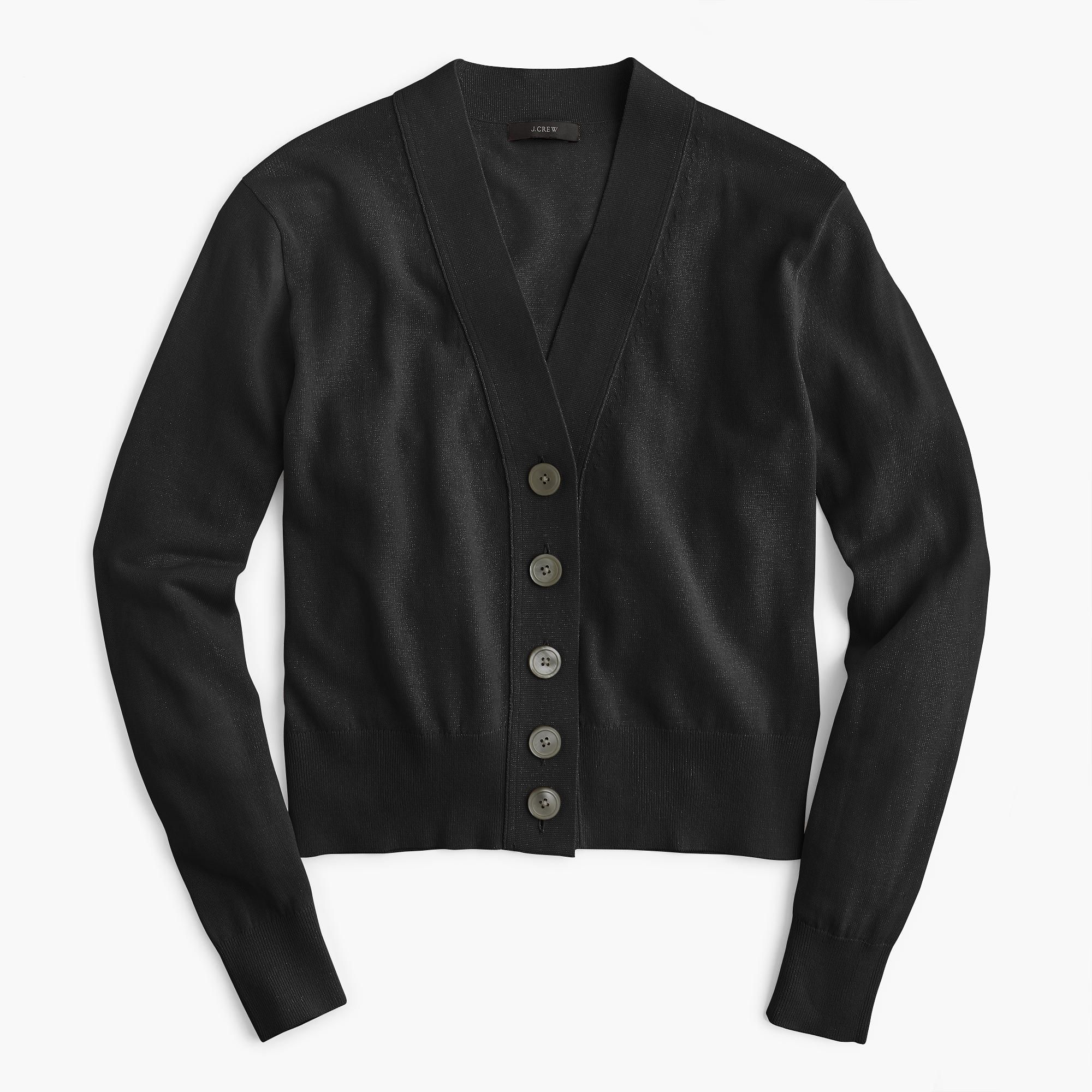 Cropped lightweight cardigan sweater in black | J. Crew | current ...